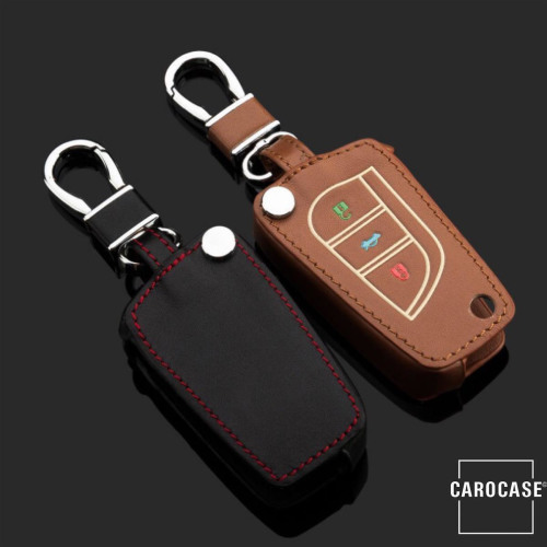 Leather key fob cover case fit for Toyota, Citroen, Peugeot T2 remote key brown