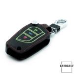 Lumineux coque/housse de clé en cuir pour Toyota, Citroen, Peugeot Voiture brun