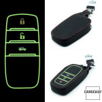 Luminous glow leather key case/cover for Toyota car keys brown
