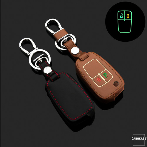 Leder Schlüssel Cover passend für Opel Schlüssel  LEUCHTEND! LEK2-OP5