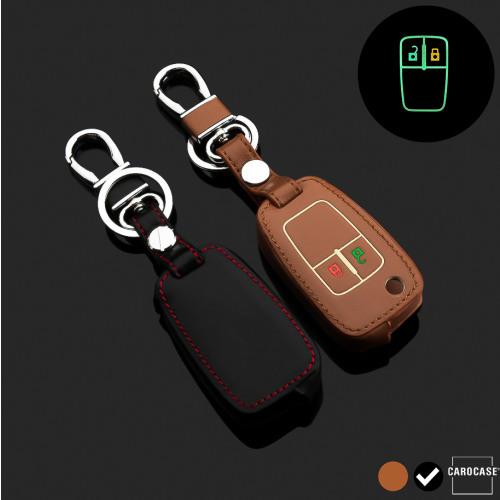 Leder Schlüssel Cover passend für Opel Schlüssel schwarz LEUCHTEND! LEK2-OP5-1