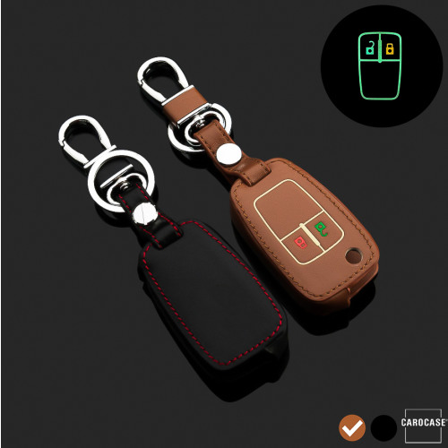 Luminous glow leather key case/cover for Opel car keys brown