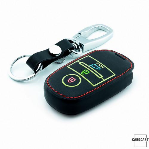 Leder Schlüssel Cover passend für Kia Schlüssel braun LEUCHTEND! LEK2-K7-2
