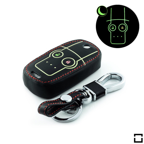 Leder Schlüssel Cover passend für Honda Schlüssel schwarz LEUCHTEND! LEK2-H5-1