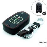 Leder Schlüssel Cover passend für Honda Schlüssel schwarz LEUCHTEND! LEK2-H9-1