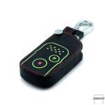 Leder Schlüssel Cover passend für Honda Schlüssel schwarz LEUCHTEND! LEK2-H7-1