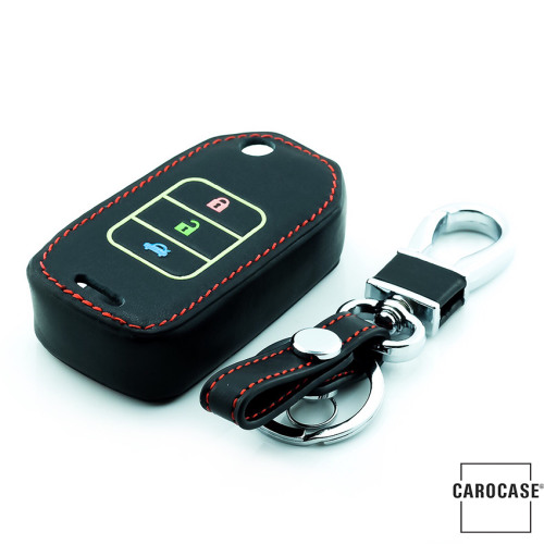 Leather key fob cover case fit for Honda H10 remote key black