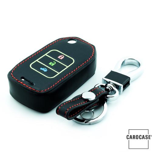 Leder Schlüssel Cover passend für Honda Schlüssel schwarz LEUCHTEND! LEK2-H10-1