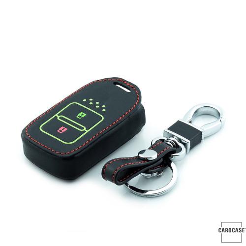 Lumineux coque/housse de clé en cuir pour Honda Voiture noir