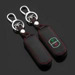 Leder Schlüssel Cover passend für Mazda Schlüssel schwarz LEUCHTEND! LEK2-MZ1-1