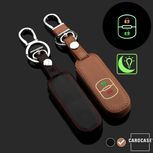 Leder Schlüssel Cover passend für Mazda Schlüssel braun LEUCHTEND! LEK2-MZ1-2