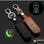 Luminous glow leather key case/cover for Mazda car keys brown