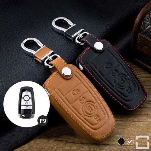 Leder Schlüssel Cover passend für Ford Schlüssel F9 braun