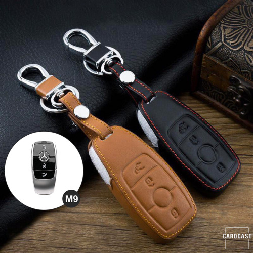 Leder Schlüssel Cover passend für Mercedes-Benz Schlüssel M9