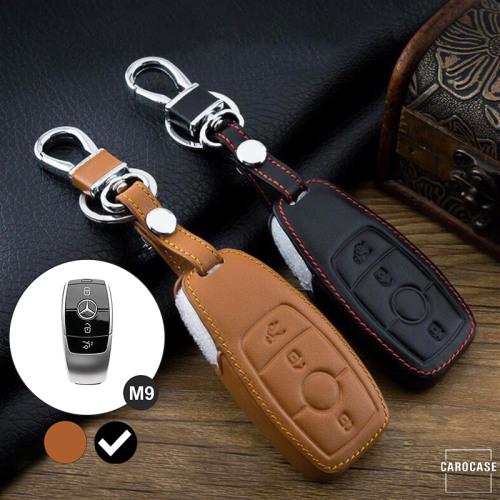 Coque / Housse Clé télécommande en cuir Voiture incl. mousquetons pour Mercedes-Benz noir LEK1-M9-1