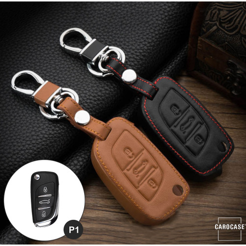 Leather key case/cover incl. keychain for Citroen, Peugeot remote key brown
