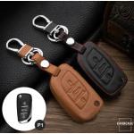 Coque / Housse Clé télécommande en cuir Voiture incl. mousquetons pour Citroen, Peugeot brun LEK1-P1-2