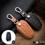 Leather key case/cover incl. keychain for Opel, Citroen, Peugeot remote key light brown