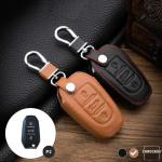 Leder Schlüssel Cover passend für Opel, Citroen, Peugeot Schlüssel P2 hellbraun
