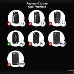 Coque / Housse Clé télécommande en cuir Voiture incl. mousquetons pour Opel, Citroen, Peugeot brun clair LEK1-P2-5
