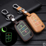 Luminous leather car key case for VW Volkswagen - key...