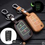 Leder Schlüssel Cover passend für Volkswagen, Audi, Skoda, Seat Schlüssel schwarz LEUCHTEND! LEK2-V3-1
