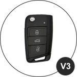 Luminous glow leather key case/cover for Volkswagen, Audi, Skoda, Seat car keys black