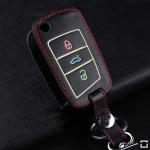 Leder Schlüssel Cover passend für Volkswagen, Audi, Skoda, Seat Schlüssel braun LEUCHTEND! LEK2-V3-2