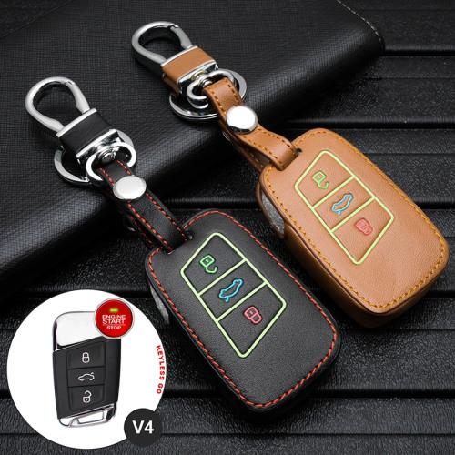 Leder Schlüssel Cover passend für Volkswagen, Skoda, Seat Schlüssel  LEUCHTEND! LEK2-V4