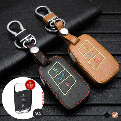 Lumineux coque/housse de clé en cuir pour Volkswagen, Skoda, Seat Voiture brun