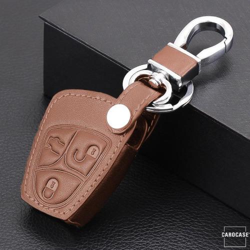 Coque / Housse Clé télécommande en cuir Voiture incl. mousquetons pour Mercedes-Benz brun LEK1-M4-2