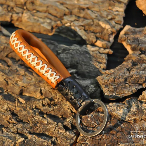 Leather strap with accent stitching by Carocase light brown