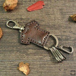 Leather keychain t-shirt by CaroCase brown