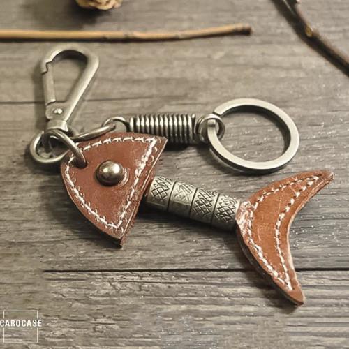 Keychain, porte-clés en cuir brun foncé