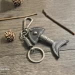 Leder Schlüsselanhänger inkl. Karabiner by CaroCase dunkelbraun