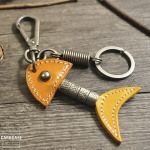 Leather keychain by CaroCase light brown