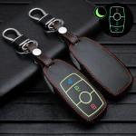 Leder Schlüssel Cover passend für Mercedes-Benz Schlüssel  LEUCHTEND! LEK2-M9