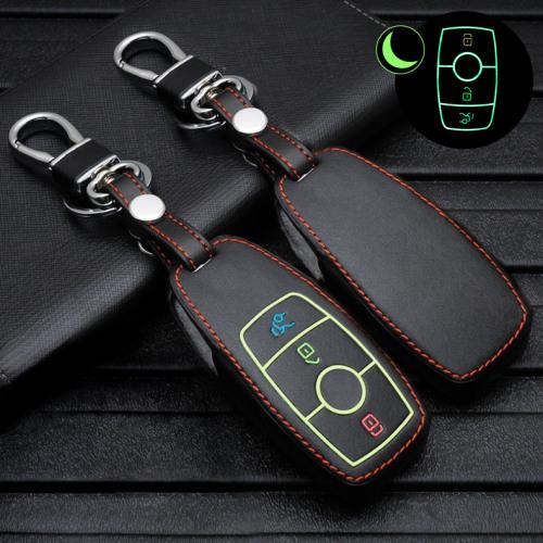 Leder Schlüssel Cover passend für Mercedes-Benz Schlüssel schwarz LEUCHTEND! LEK2-M9-1
