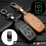 Luminous glow leather key case/cover for Mercedes-Benz car keys brown