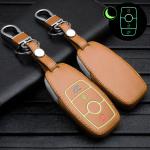 Leder Schlüssel Cover passend für Mercedes-Benz Schlüssel braun LEUCHTEND! LEK2-M9-2