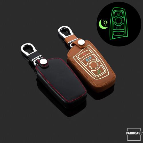 Lumineux coque/housse de clé en cuir pour BMW Voiture