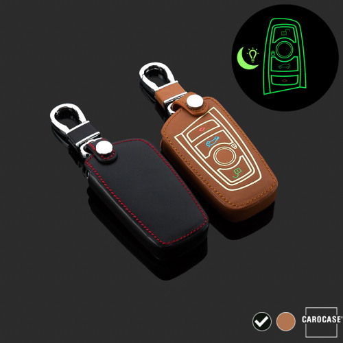 Leder Schlüssel Cover passend für BMW Schlüssel schwarz LEUCHTEND! LEK2-B5-1