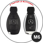 Leather key case/cover incl. keychain for Mercedes-Benz remote key black