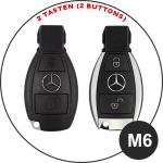 Leder Schlüssel Cover passend für Mercedes-Benz Schlüssel M6 schwarz