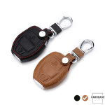 Leather key case/cover incl. keychain for Mercedes-Benz remote key brown