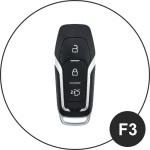 Coque / Housse Clé télécommande en cuir Voiture incl. mousquetons pour Ford noir LEK1-F3-1