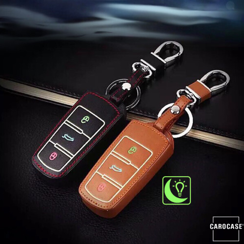 Luminous glow leather key case/cover for Volkswagen car keys