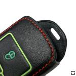 Leder Schlüssel Cover passend für Volkswagen Schlüssel  LEUCHTEND! LEK2-V6