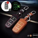Leder Schlüssel Cover passend für Volkswagen Schlüssel schwarz LEUCHTEND! LEK2-V6-1