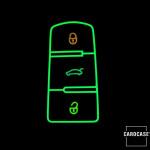 Leder Schlüssel Cover passend für Volkswagen Schlüssel schwarz LEUCHTEND! LEK2-V5-1